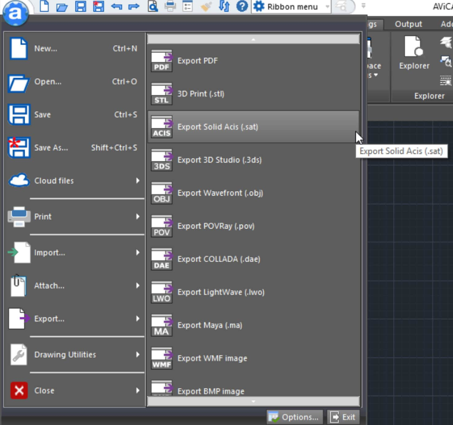 AViCAD file export menu