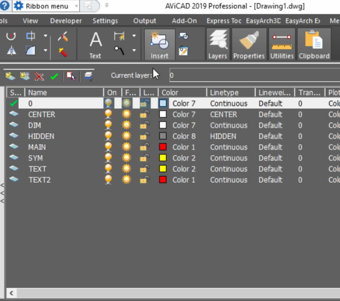 AViCAD layer dialog menu