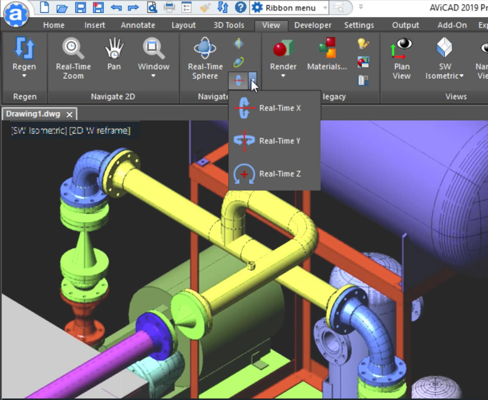 AViCAD 3D Piping Menu