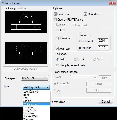 flange dialog - choose settings to create a flange
